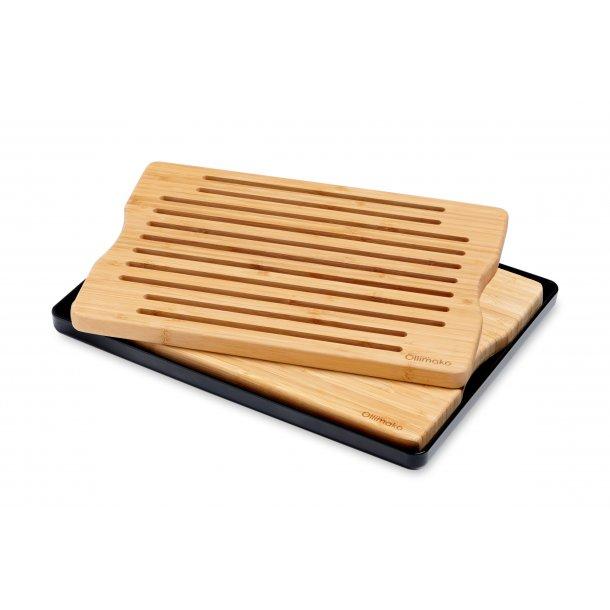 Kombi sæt skære- og brødbræt i bambus med sort opsamlingsfad.