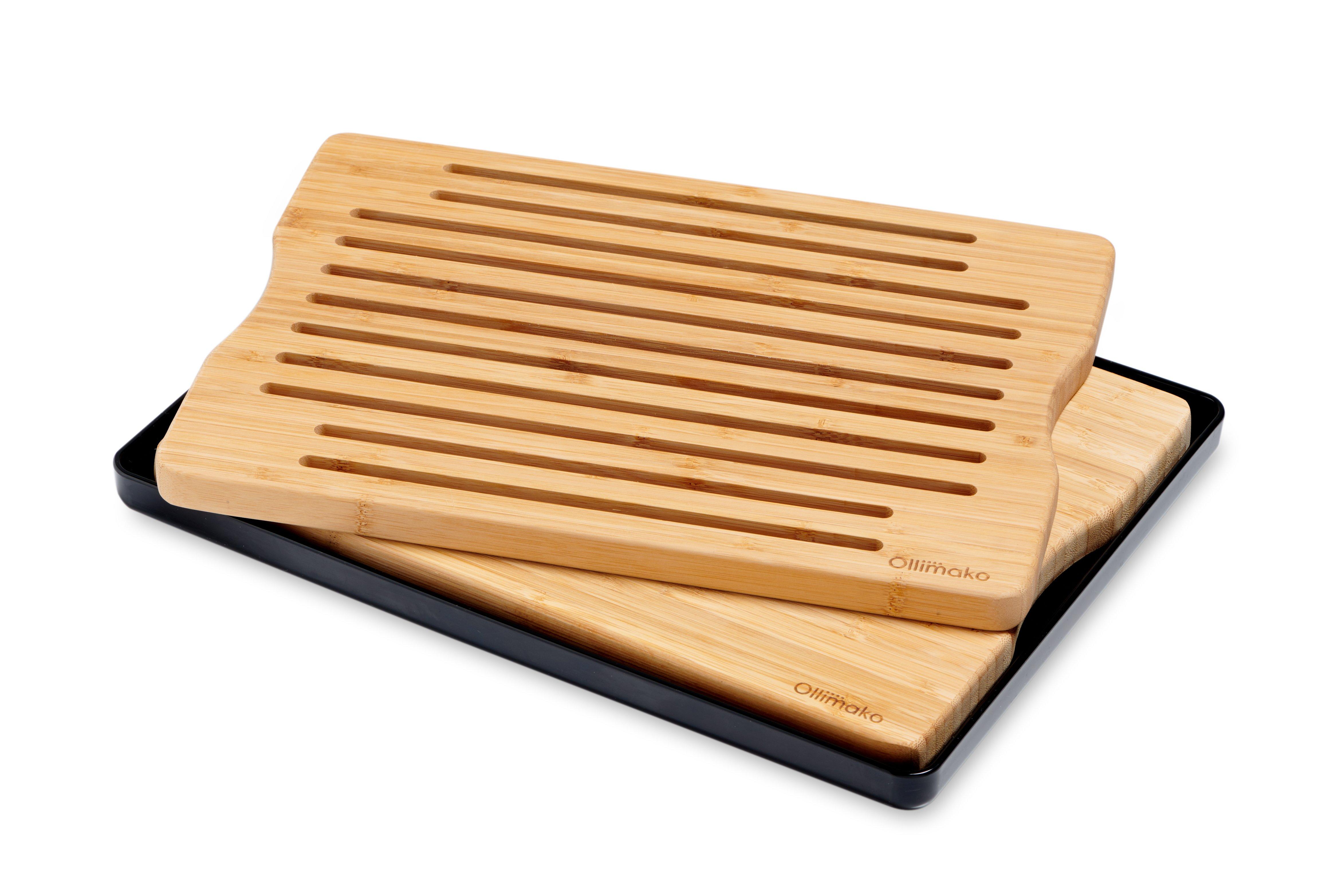 Kombi sæt skære- og brødbræt i bambus med sort opsamlingsfad incl. silikonefødder.