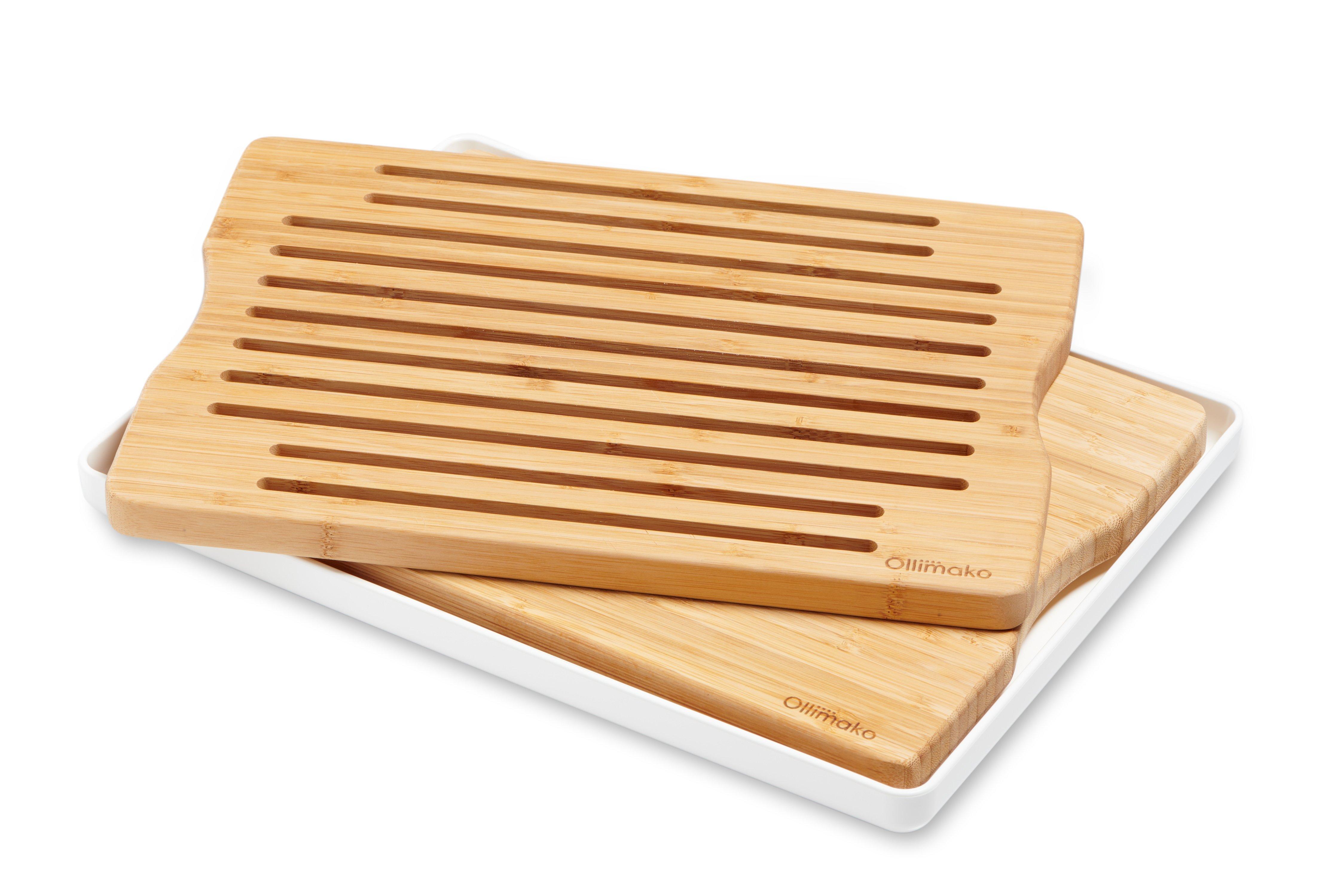 Kombi sæt skære- og brødbræt i bambus med hvidt opsamlingsfad incl. silikonefødder.